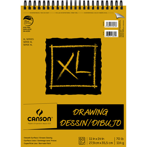 """Canson XL Recycled Drawing Paper 11"""" x 14"""" 60-Sheet Top Wire Bound Pad"""