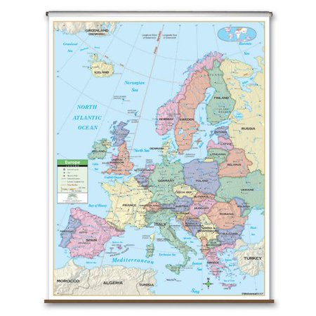 Map Of Europe With Bodies Of Water.Universal Map Primary Wall Map Europe Walmart Com