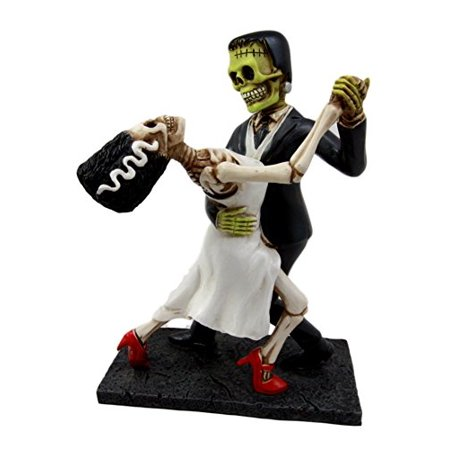 Atlantic Collectibles Day Of The Dead Wedding Foxtrot Dance Skeleton Frankenstein Skull Bride And Groom Couple -