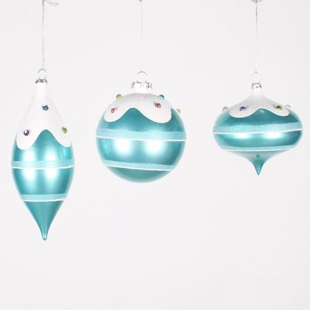 Teal Christmas Ornaments (4-7'' Candy Teal Jewel Asst Ornament)