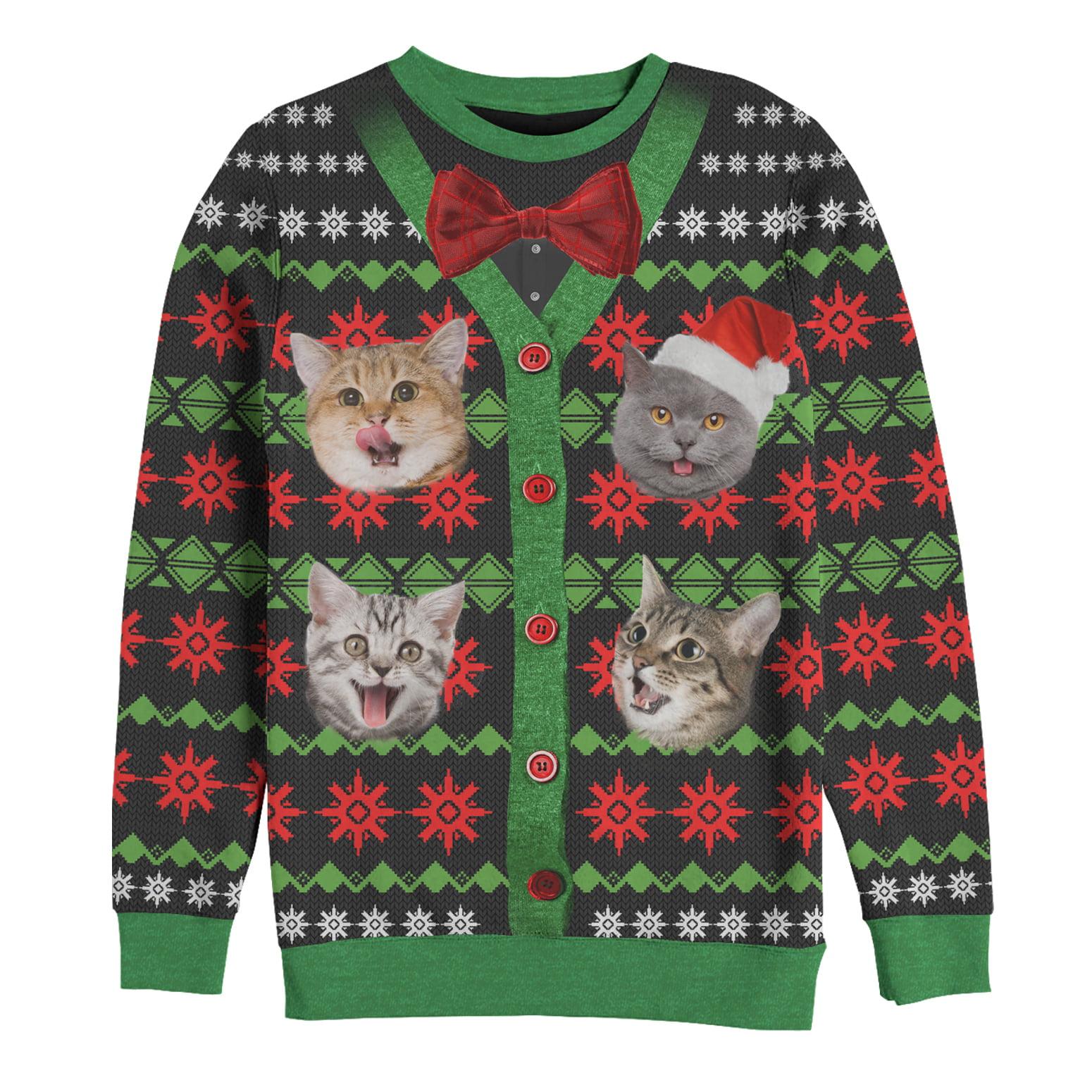 Lost Gods Men S Lost Gods Ugly Christmas Bow Tie Cat Explosion All Over Sweatshirt Walmart Com Walmart Com