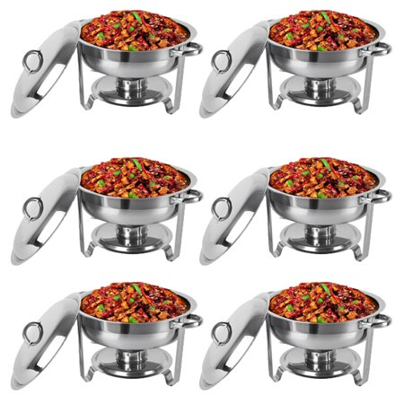 Zimtown 6 Pcs of Full Size Upgraded 5-Qt Stainless Steel Chafing Dishes Buffet, Rectangular Catering Warmer Set for Kitchen Party Banquet Dining - Round Chafing Dish
