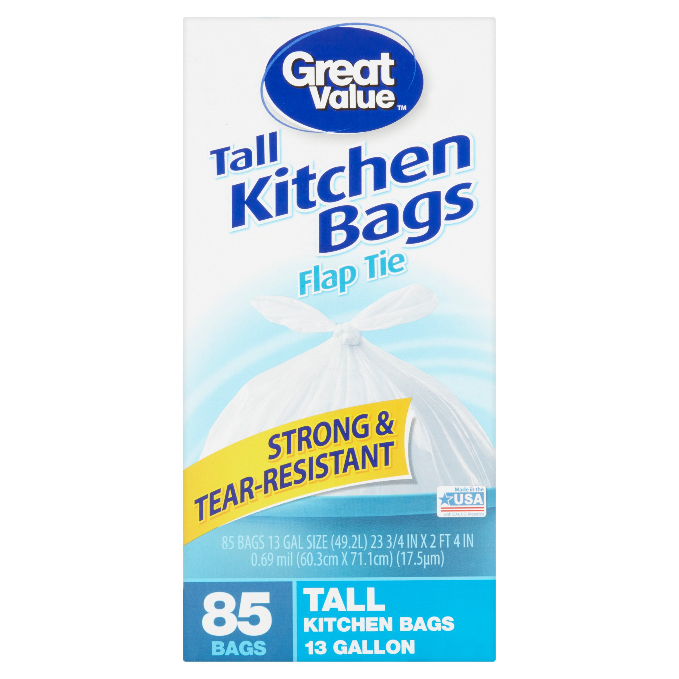 Great Value Flap Tie Tall Kitchen Trash Bags, 13 Gallon, 85 Ct