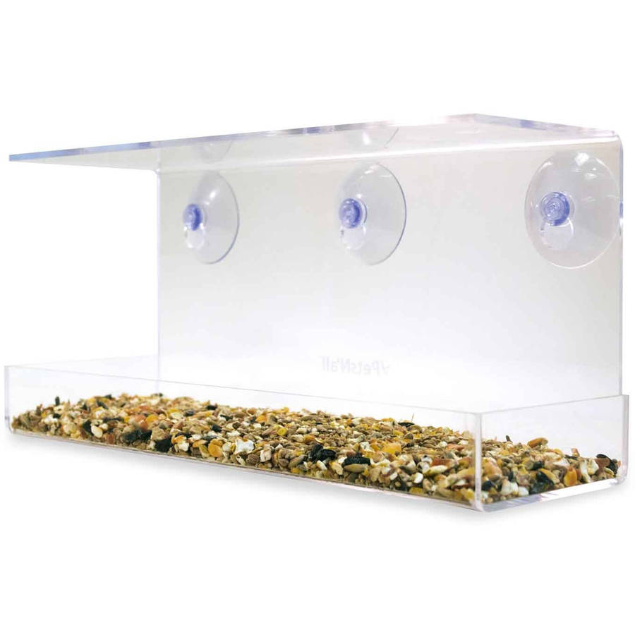 PetsN'all Clear Window Family Diner 2-Cup, 4-Bird Capacity Birdfeeder by Aspectek