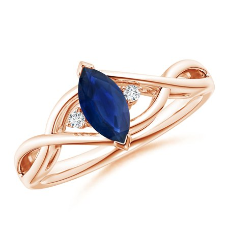 September Birthstone Ring - Criss-Cross Marquise Sapphire Solitaire Ring with Diamonds in 14K Rose Gold (8x4mm Blue Sapphire) - SR0177S-RG-AA-8x4-9