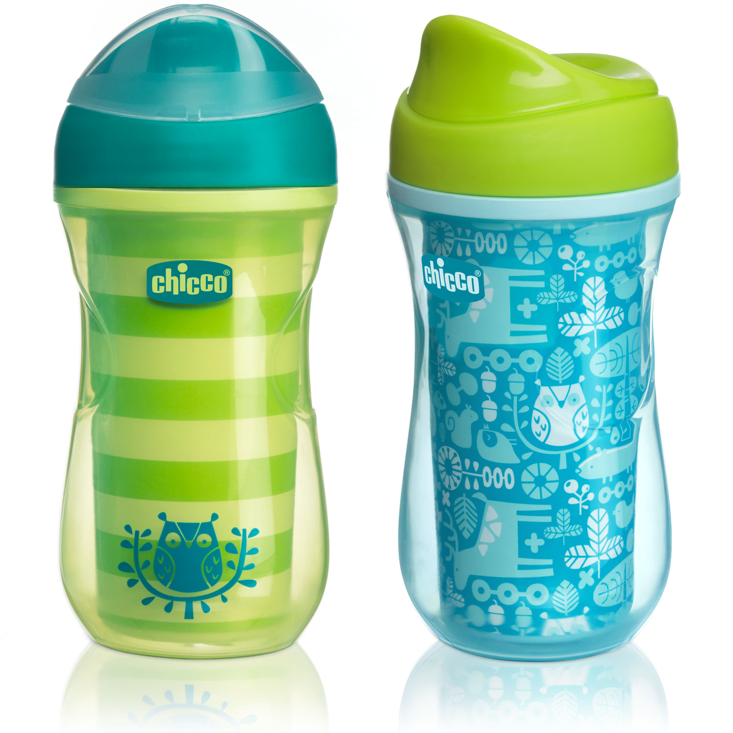 Chicco Insulated No Spill Rim Spout Trainer Sippy Cup 12M+, 9oz Teal/Green 2-Pack