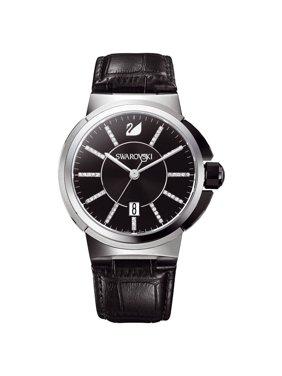 Swarovski Men's 1094350 'Piazza' Crystal Black Leather Watch