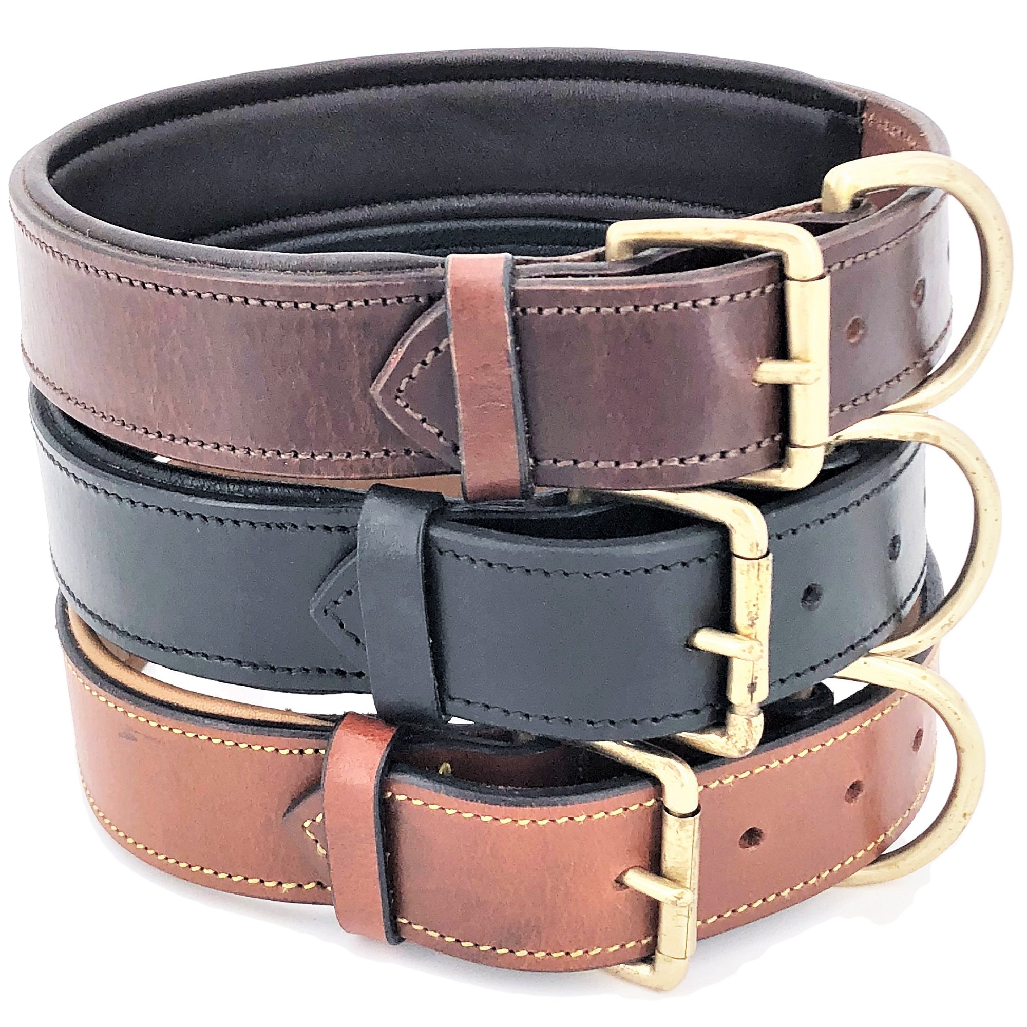 """Genuine Real Leather Padded Dog Collar 1.5"""" Width Heavy Duty for Medium and Large Pet sz M (Neck 13"""" - 15"""")"""