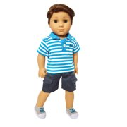 My Brittany's Blue Polo For American Girl Boy Dolls and My Life as Dolls- 18 Inch Doll Clothes for American Dolls- Doll is not included