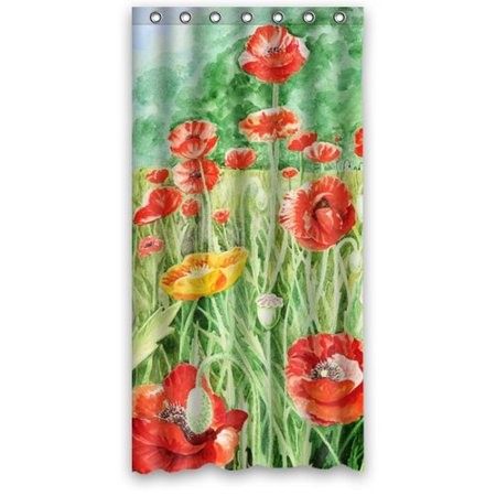 MOHome Girlstyle Poppies Shower Curtain Waterproof Polyester Fabric Size 36x72 Inches