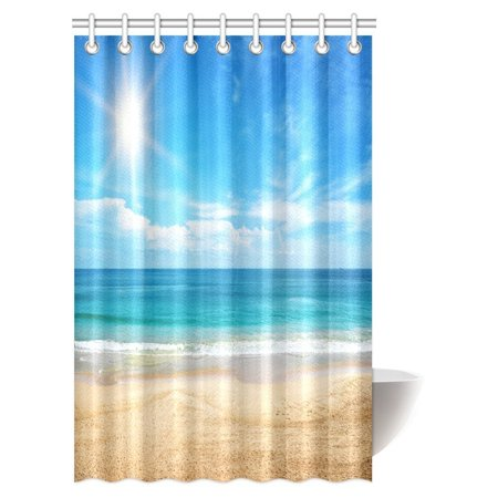 MYPOP Ocean Beach Shower Curtain Tropical Caribbean Sea Shore Sand Peaceful And Sun