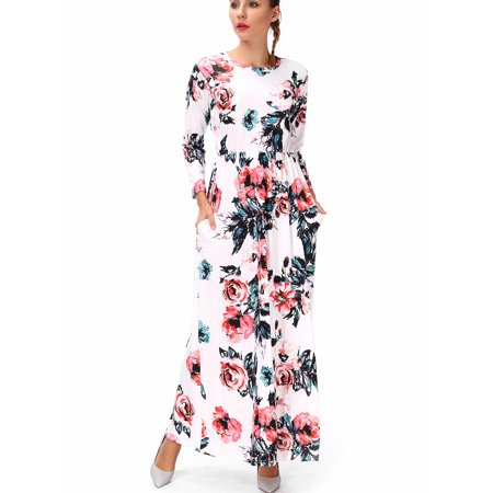 ea1f70cd3ae1d SAYFUT - Plus Size Maternity Dresses Long Sleeve Empire High Waist Maxi  Dress Floral Print Casual Black/White S-3XL - Walmart.com