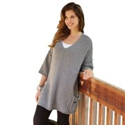 Women's Tunic Sweater - Cashmere Wool Gray Pullover - Side Pockets