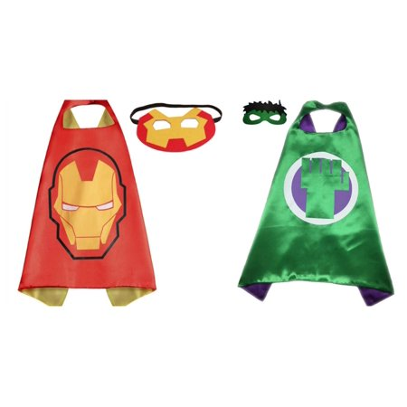 Ironman & Hulk Costumes - 2 Capes, 2 Masks with Gift Box by Superheroes