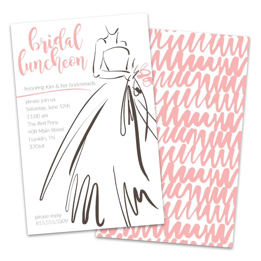 Personalized Simple Line Art Dress Bridal Luncheon Invitation