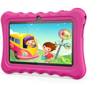 """Kids Tablets, Android 8.1 OS 7"""" IPS Display 1G RAM 8 GB ROM Light Weight Portable Shock-Proof Silicone Case Kickstand Available With IWawa For Kids Education Entertainment"""