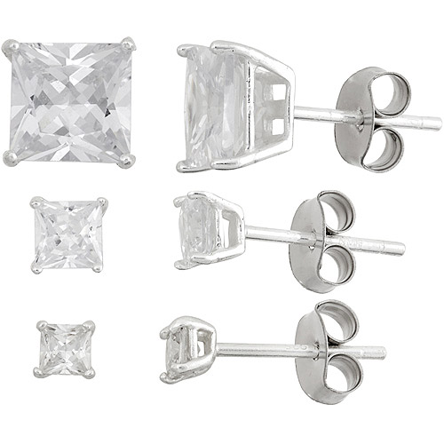 White CZ Square 3mm, 4mm and 7mm Sterling Silver Stud Earrings Set