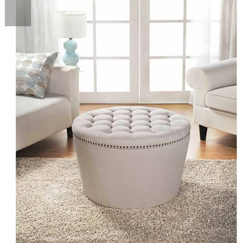 better homes and gardens round tufted storage ottoman with nailheads multiple finishes walmartcom