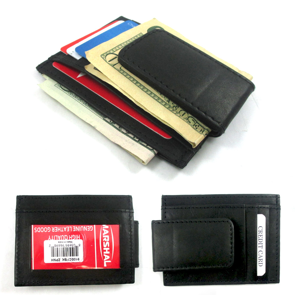 Men Leather Money Clip Wallet Slim Credit Card Case Front Pocket ID Window Black