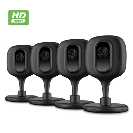 Zencam 4pc 1080P Home Security Camera System Wireless, Indoor WiFi IP Security Surveillance System with Night Vision, Two-Way Talk, Baby Monitor, Nanny, Pet Cam with MicroSD & Cloud Black (4PACK-E2B)