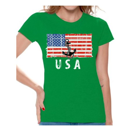 Flag Red Top White Bottom - Awkward Styles Anchor USA Women Shirt Red White and Blue American Flag T shirt for Women United States of America Vintage USA Women Tshirt Stripes and Stars USA Flag T-shirt for Women