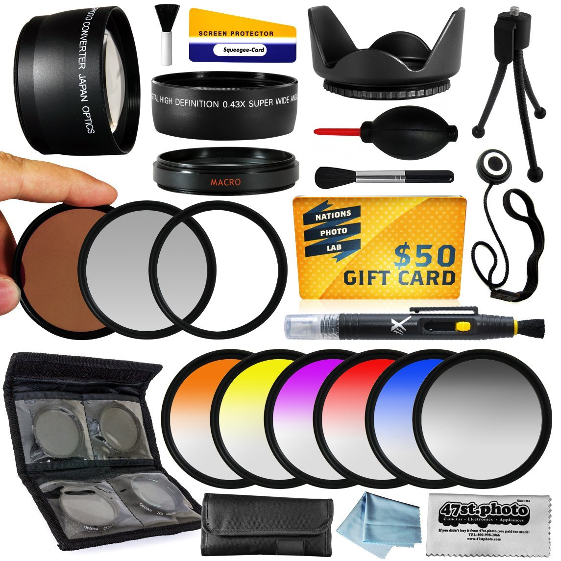 25 Piece Advanced Lens Package For The Nikon D7100 D7000 D5000 D5300 D5100 D3000 D40 D90 D300 18-200mm 28-135mm 24-120mm AF-S Lenses Includes 72MM 0.43X + 2.2x + Filter Kit + $50 Photo Gift Card!