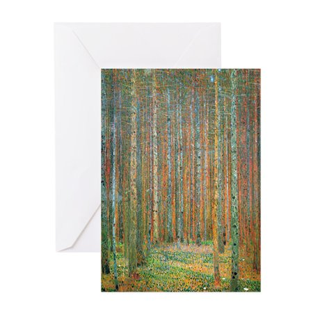CafePress - Gustav Klimt Pine Forest - Greeting Card, Blank Inside -