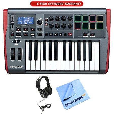 Novation Impulse 25 USB Midi Controller Keyboard, 25 Keys (AMS-IMPULSE-25) with 1 Year Extended Warranty, Professional Headphones & 1 Piece Micro Fiber