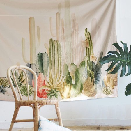 Meigar Cactus Tapestry, 79''x59'' Wall Hangings Yellow and Green Watercolor Printed Nature Large Tablecloths Wall Tapestry
