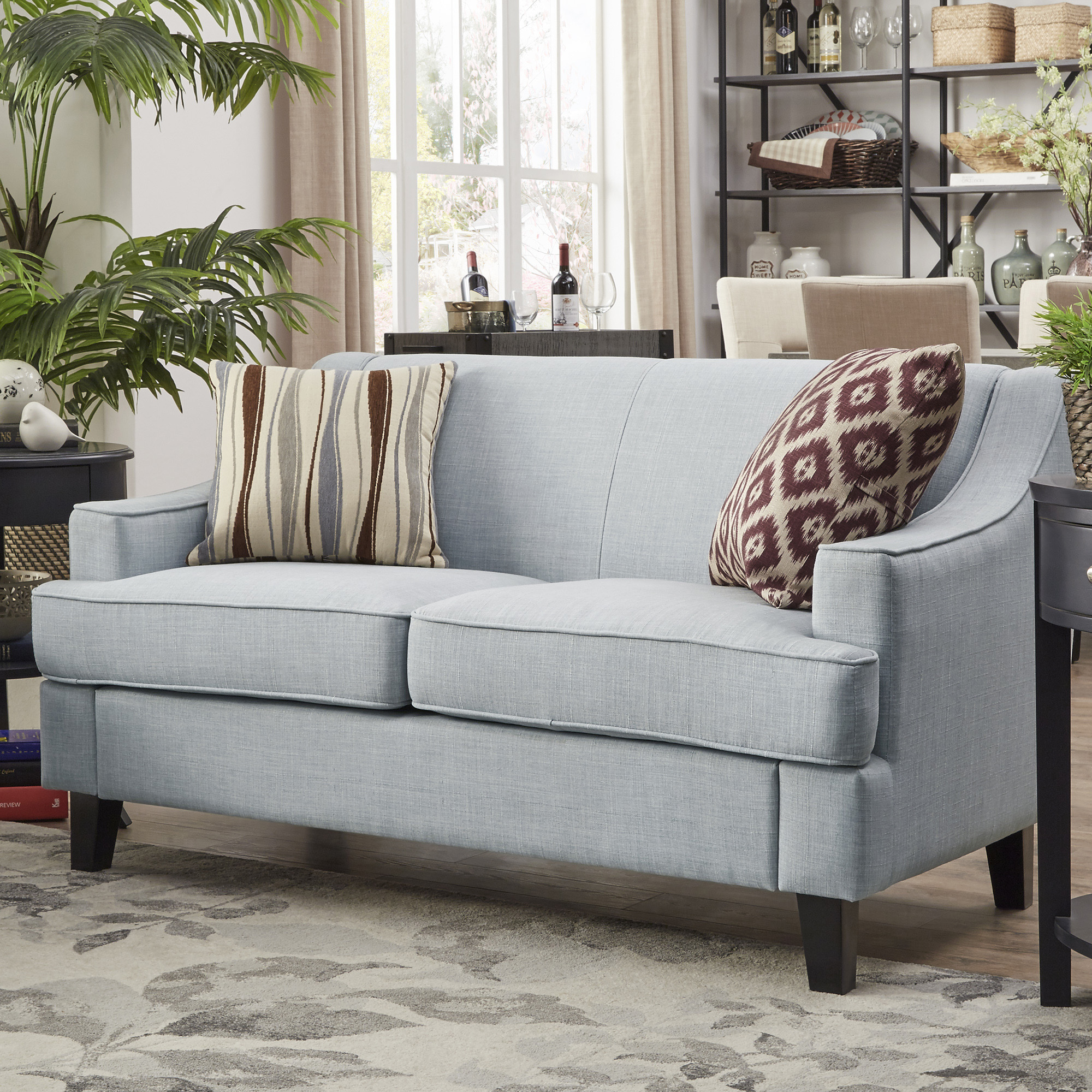 Weston Home Reagan Linen Loveseat With Modern Swooping Arms