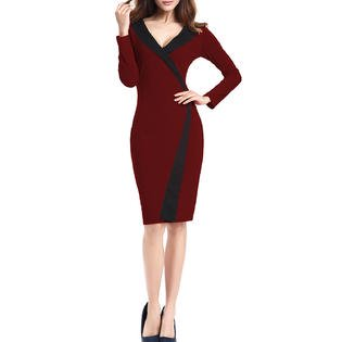 93788577 Unomatch - Women V-Neck Slim Long Sleeves Bodycon Dress - Walmart.com