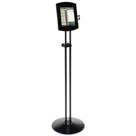 Adjustable Height Floor Lock (iPad Floor Stand, Height Adjustable, Locking Hinged Mount, Hidden Home Button, POS Kiosk w/ Card Reader (Black Steel/Aluminum) (FSTIPDBK3C))