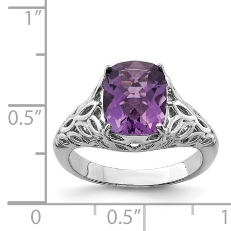 925 Sterling Silver Rhodium-plated Checker-Cut Amethyst Ring - image 1 of 2