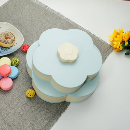 Double Layers Snack Box Candy Plates Petal-Shape Rotating Snack Tray Double-deck Dried Fruit Plate Storage Organizer Box - image 2 of 7