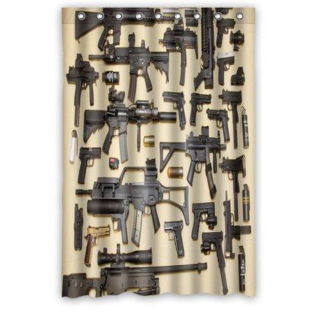 Ganma Firearms Guns Shower Curtain Polyester Fabric Bathroom 48x72 Inches