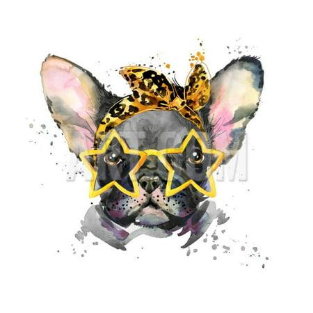 French Bulldog. Cute Puppy Dog. Watercolor Puppy Dog Illustration. French Bulldog Breed. Unusual Il Print Wall Art By Fayankova