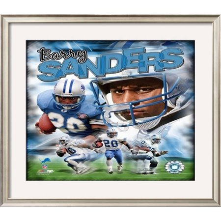Barry Sanders Framed Photographic Print Wall Art  - 26x30 (Barry Sanders Wall)