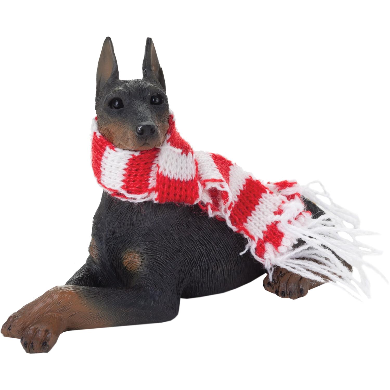 Sandicast Lying Black Doberman Pinscher with Scarf Christmas Dog Ornament