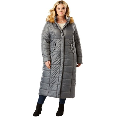 Plus Size Quilted Faux-fur Trim Maxi Length Parka