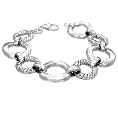 925 Sterling Silver Circle Round Link Chain Womens Bracelet with Clasp