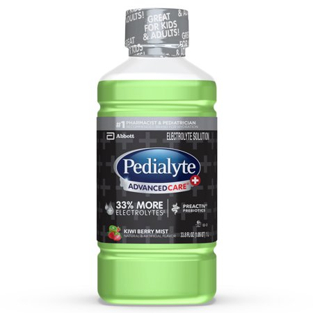 Pedialyte AdvancedCare+ Electrolyte Drink with 33% More Electrolytes and has PreActiv Prebiotics, Kiwi Berry Mist, 1 Liter, 4 -
