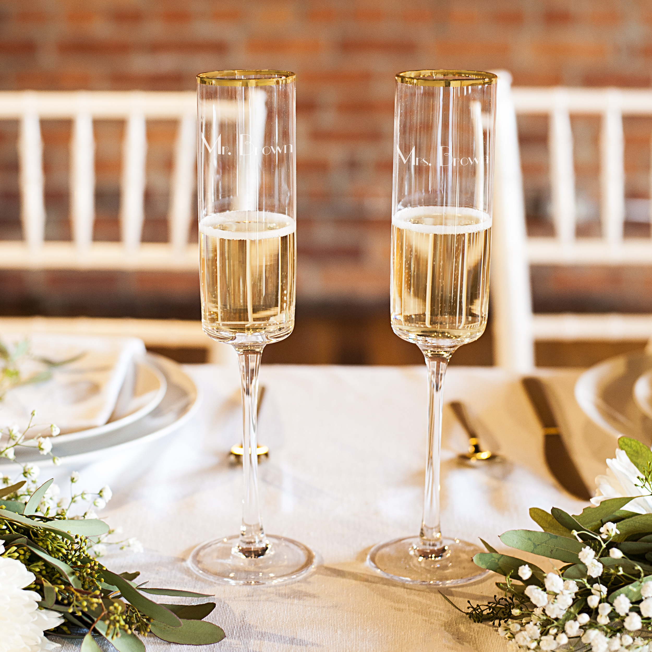 Personalized 8 oz. Gold Rim Contemporary Champagne Flutes (Set of 2)