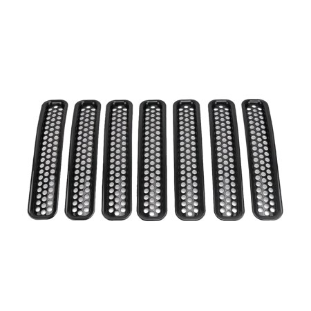 7PCS Decorative Circle Front Grille Insert Mesh Light Circle Grille Guard for 2007-2018 Jeep Wrangler JK 2 Door Unlimited 4 Door Sports Sahara Freedom Rubicon - image 5 of 7