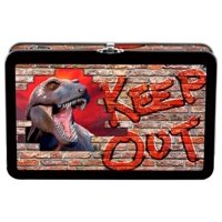 Find It Tin Pencil Box Keep Out Dino