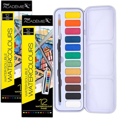 Watercolor Paints (Mead (2 Pack) Watercolor Painting Set, 12 Colors and Paint Brush In Travel)