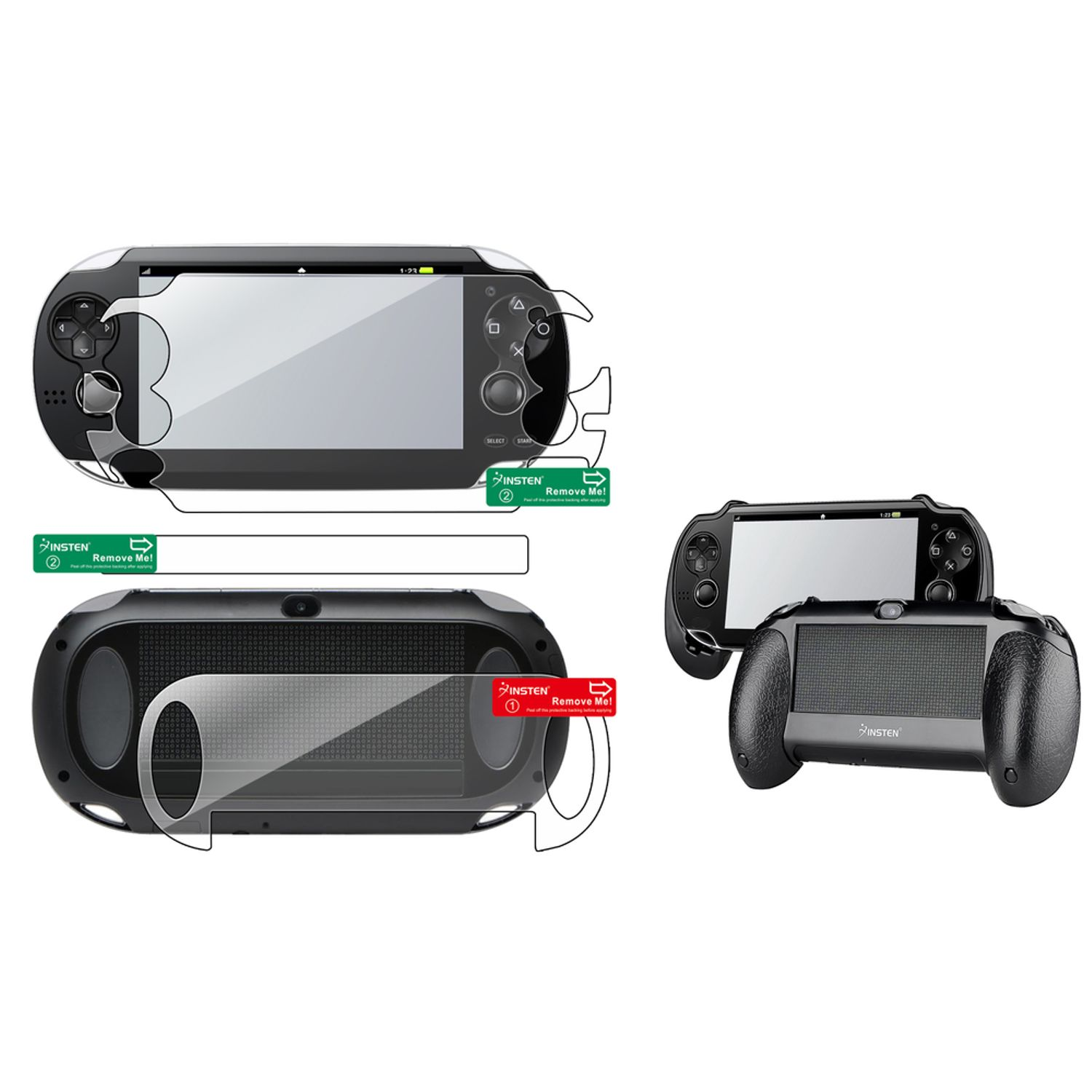 Insten Clear Full Body Front Back Protector + Black Hand Grip Holder For Sony Playstation Vita PS Vita