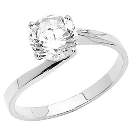 Jewelry 14k White Gold 1ct TGW Round-cut Diamonette Solitaire Bypass Engagement Ring - image 1 of 1