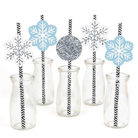 Winter Wonderland - Paper Straw Decor - Snowflake Holiday Party & Winter Wedding Striped Decorative Straws - Set of 24