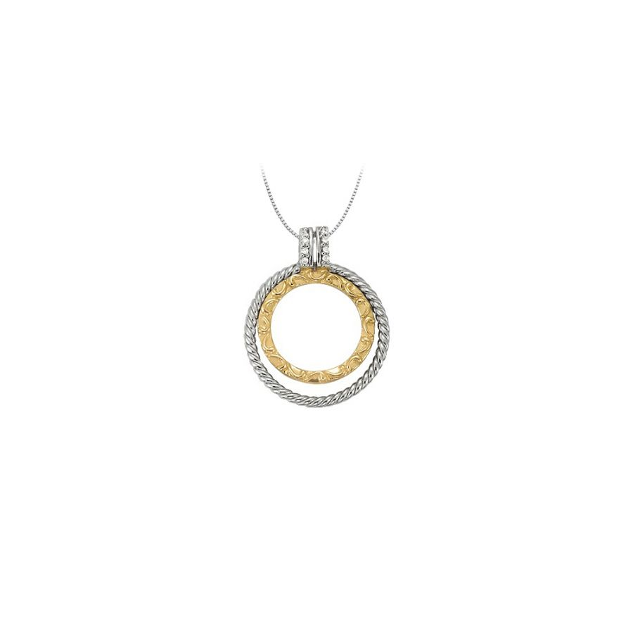 LoveBrightJewelry Diamond Double Circle Pendant in Two To...