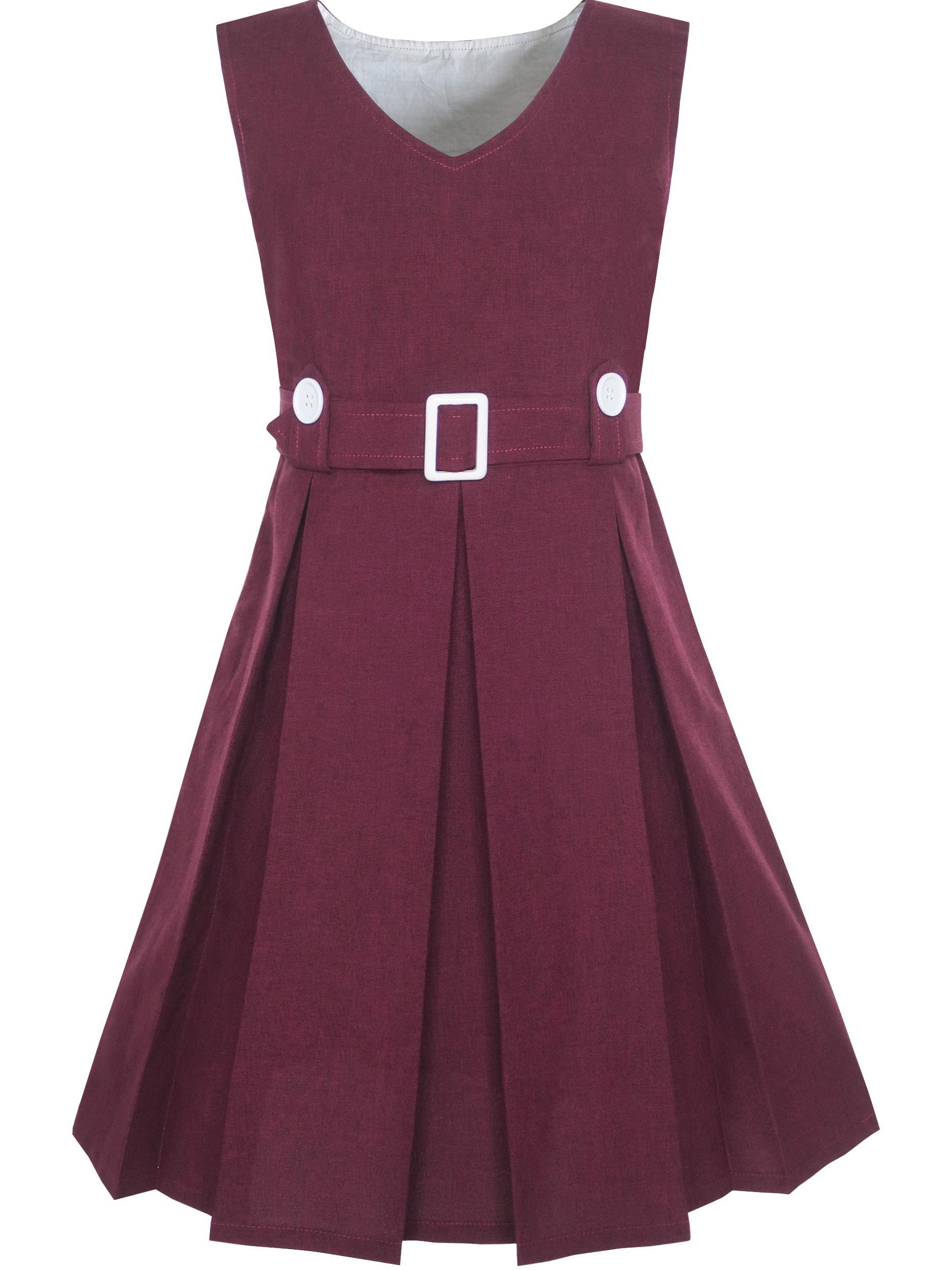Girls Dress Khaki Button Back School Uniform Pleated Hem 6